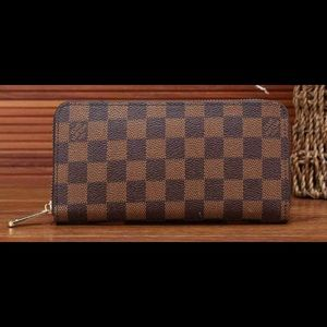 "7.5""x3.5"" checkered PU Leather wallet"